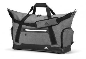 Adidas' new Travel Capsule has everything you need to make a quick golf getaway, including this heathered travel bag.