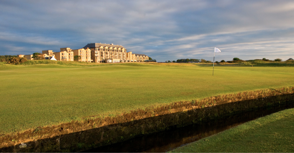 The famous first hole of the Old Course is called the widest fairway in golf, but hard to hit with your knees knocking.