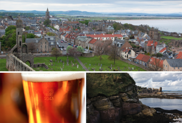 (Clockwise from left) The town of St Andrews is known for golf now, but was built around the bones of Saint Andrew, as the top of the former cathedral can attest. Take the plunge in the frigid North Sea, just as hundreds of St Andrews University graduates do each year. There is no shortage of pubs to stop for a pint (or two), but The Jigger is one of the oldest and best known, and just steps from the Old Course.